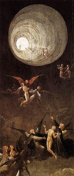 Вознесение блаженных Иеронима Босха (1490). Изображены святые и туннель света, аналогичный некоторым сообщениям о предсмертных переживаниях