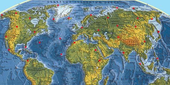 Расположение метеостанций для определения фактической температуры для Северного полушария