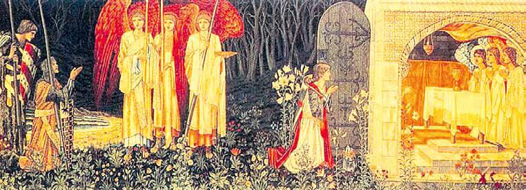 Эдвард Берн-Джонс. «Галахард, Борс и Парцифаль перед Святым Граалем».